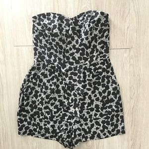 Express Strapless Romper Animal Print 2 Mini Short